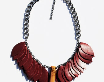 Red Leather Leaf Necklace with Pendant