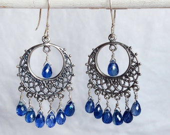 Gemstone Chandelier Earrings with Brilliant Blue Kyanite Teardrop Briolettes in Sterling Silver