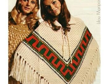 PONCHO Pattern Vintage 70s Peruvian Poncho Pattern Shawl Pattern Wrap Pattern Top Pattern KNITTING PATTERN