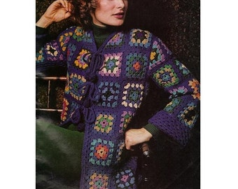 Crochet CARDIGAN Pattern Vintage 70s Granny Square Sweater Crochet Top Pattern Boho Bohemian Clothing