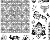 HUGE 8x8 Henna Petals Clear Stamps NEW