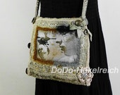 Bag, crochet, luxurious bag crochet artist fabric image in black and off white shades, design, slow fashion
