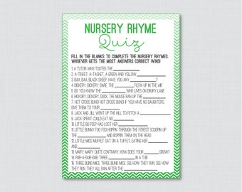 Chevron Nursery Rhyme Quiz Baby Shower Game in Green - Printable Instant Download Nursery Rhyme Game Green Baby Shower Game - 0017-R
