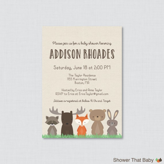 woodland baby shower invitation printable or printed woodland baby