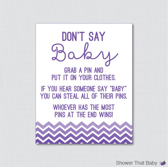 Captivating Donu0027t Say Baby Baby Shower Game In Purple Ombre Chevron   Printable Diaper  Pin Clothes Pin Game, Purple Chevron Baby Shower   0017 P