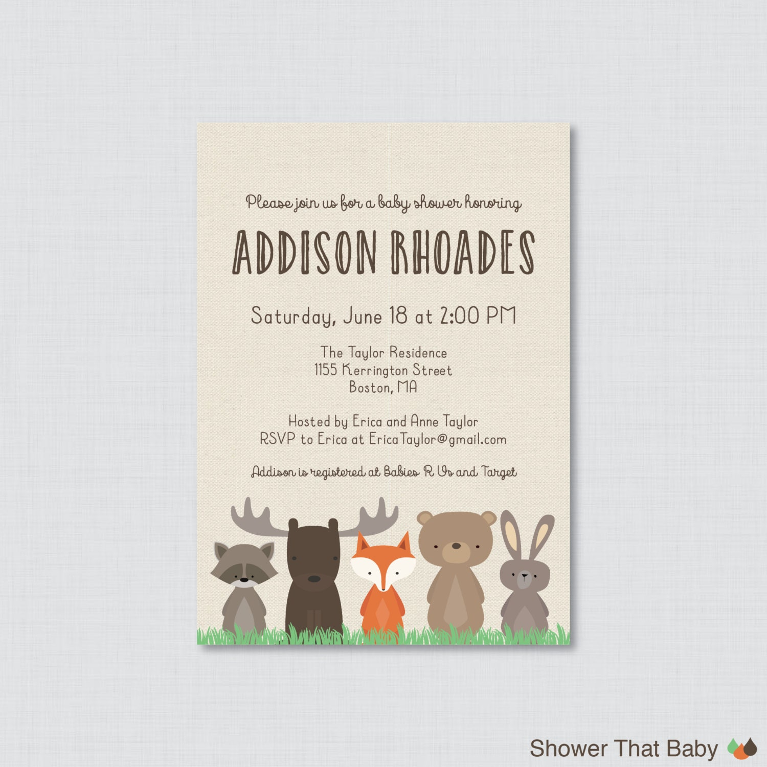 woodland baby shower invitation printable or printed