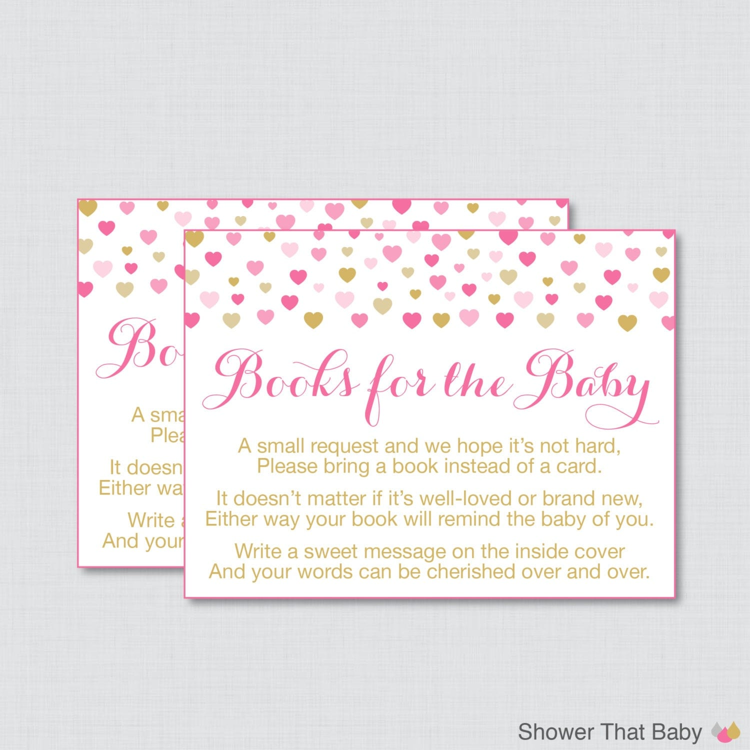 Pink and Gold Baby Shower Bring a Book Instead of a Card