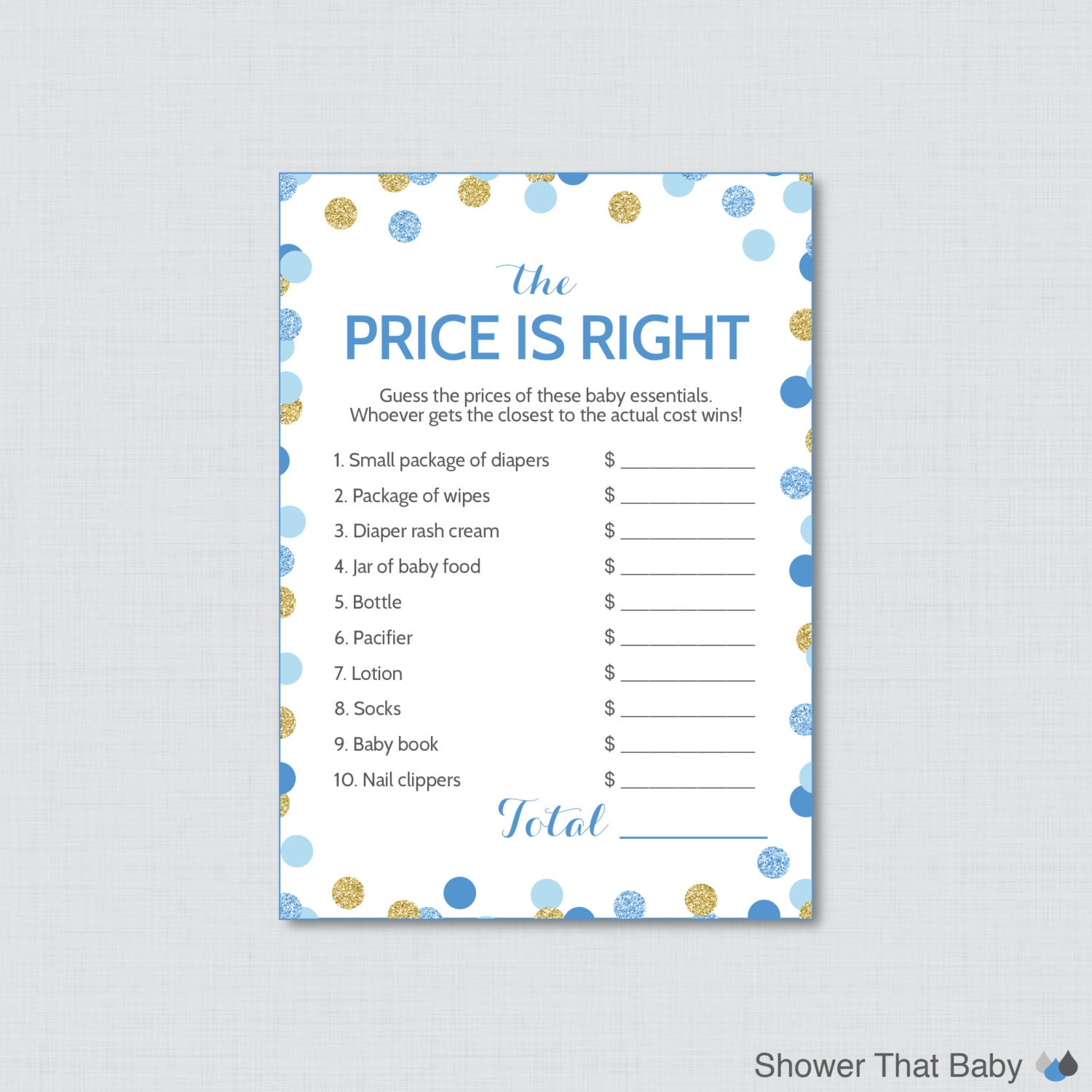 baby shower price is right game in blue and gold printable