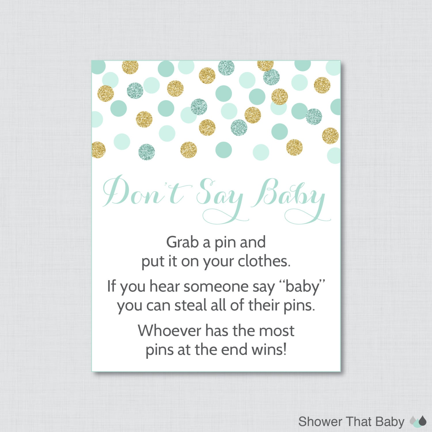 Don t Say Baby Baby Shower Game Printable Mint and Gold