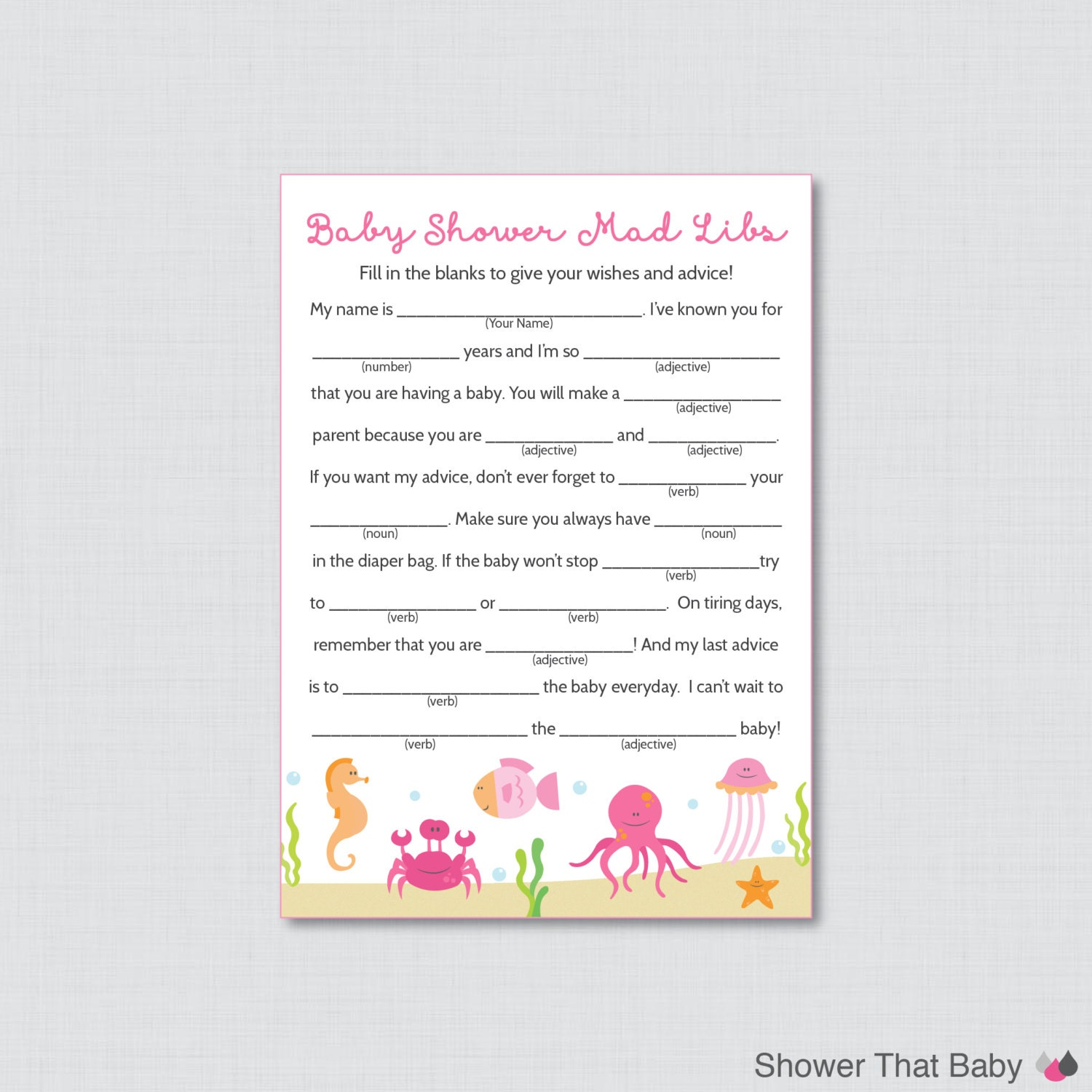 under the sea baby shower mad libs printable baby shower