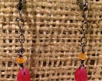 Minimalist Rustic Silver Chain // Red & Orange Beaded Earrings  // Bohemian Accessories