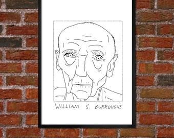 Badly Drawn William S. Burroughs  - Literary Poster