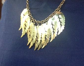 Recycled Gold Leaf Fringe Statement Necklace