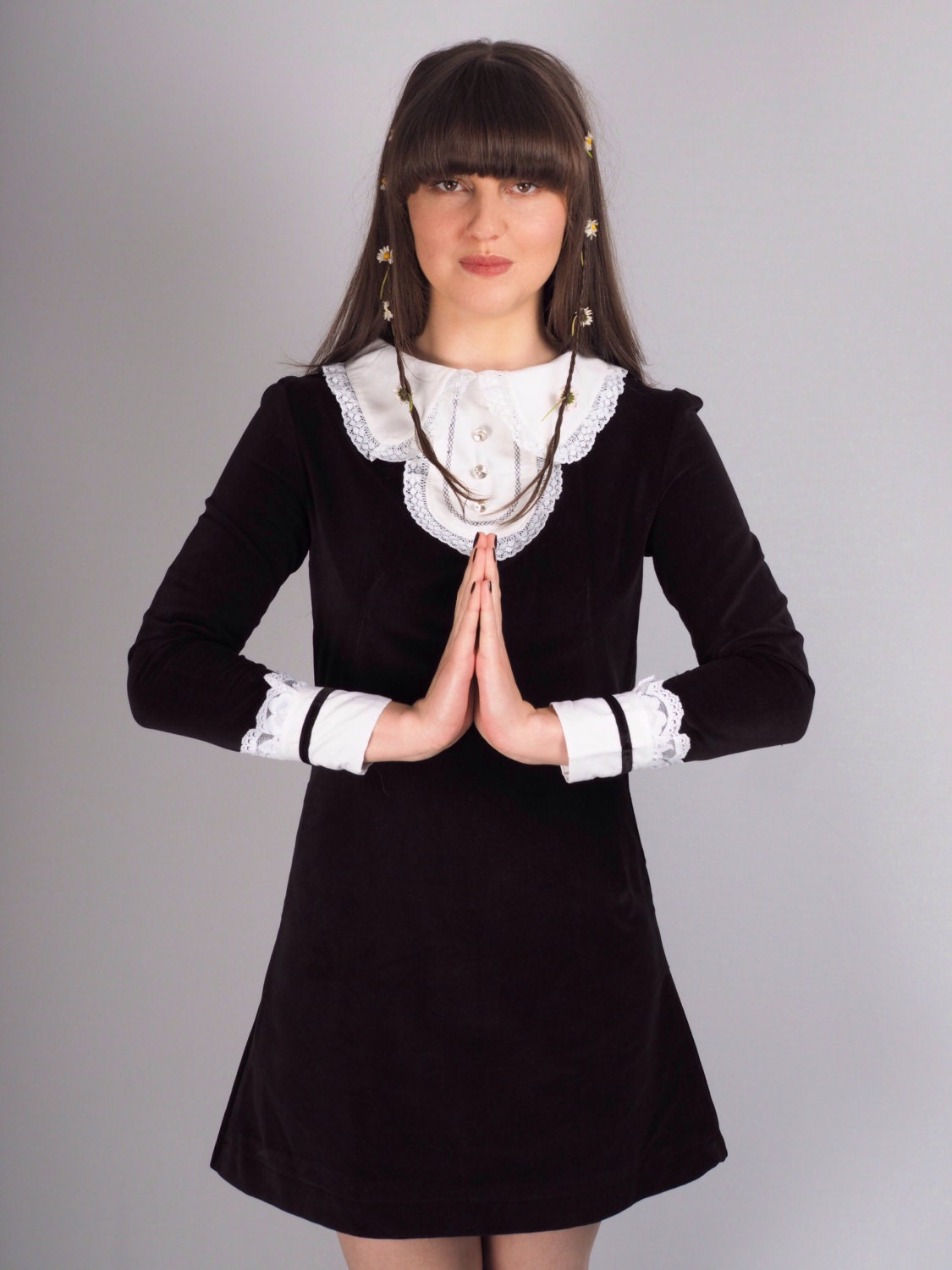 Black velvet mod dress with white collar by violethouseclothing