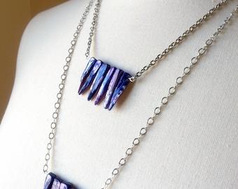 Biwa Stick Pearl Necklace, Purple Pearls Necklace, Chain Necklace, Cultured Pearls Necklace, Silver Chain Necklace, Necklace with Pearls