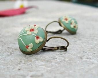 Vintage mint earrings with camomile flowers, polymer clay earrings, brass earrings