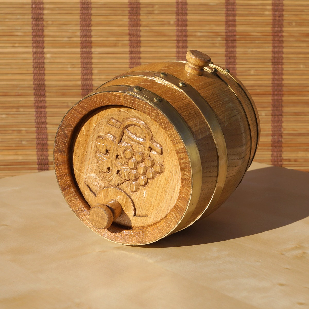 Small Wooden Barrel With Brass Rings Vintage