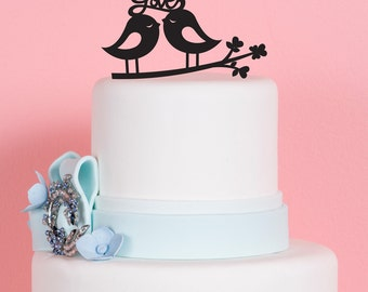 Wedding Cake Topper - Love Birds - Acrylic Cake Topper