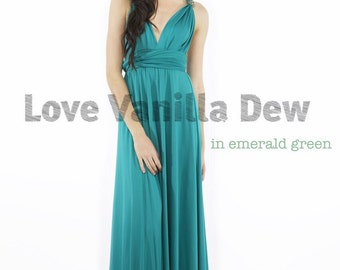 Bridesmaid Dress Infinity Dress Emerald Green Floor Length Maxi Wrap Convertible Dress Wedding Dress