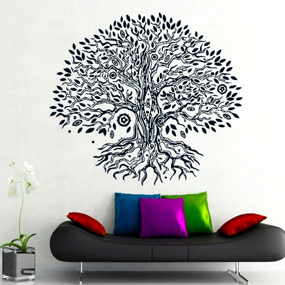 Yoga Studio Wall Decor : Wall decals namaste tree vinyl sticker decal yoga by cozydecal
