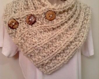 Cream Heather Knit Neck Warmer or Cowl