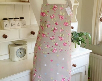 Taupe Strawberries Ladies' Apron, Strawberries Apron, Women's Apron, Taupe Dotty Apron,