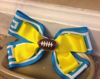 Football Hair Bow 18 Yellow Hair Bow. Cheer Bow.