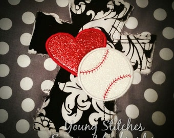 Satin Cross Heart Baseball 6x10 Embroidery Design