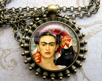 Jewelry,  Frida Kahlo Necklace, Black Cat, Glass Pendant Necklace, Jewelry Accessories,  Art Pendant, Photo Pendant