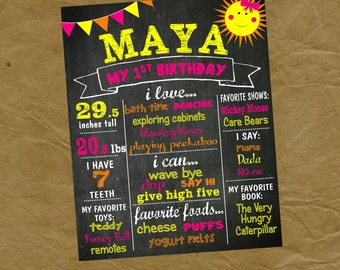 You Are My SUNSHINE Birthday Chalkboard Poster - Any Size and Age and Color -