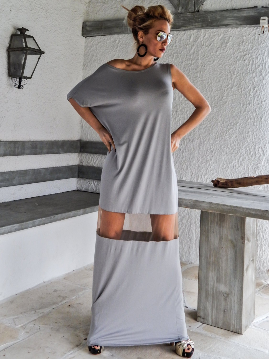 Light Gray Maxi Dress Kaftan With See Through By