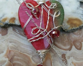 Red Heart Pendant Ooak