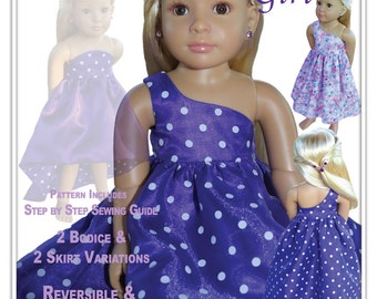 Glamour Girl - Kidz N Cats Doll - Reversible Dress Sewing Pattern