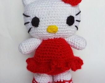 9 inch Crochet Hello Kitty, Amigurumi Hello Kitty, Handcrafted Hello Kitty with Crochet Heart and Rose