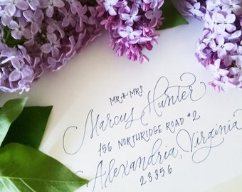 Poppy Monoline Style; Affordable Wedding Envelope Calligraphy; Hand Addressed