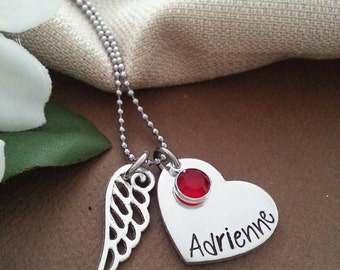 Personalized Necklace With Angel Wing Charm and Crystal Birthstone | Memorial Necklace | Angel Baby Necklace