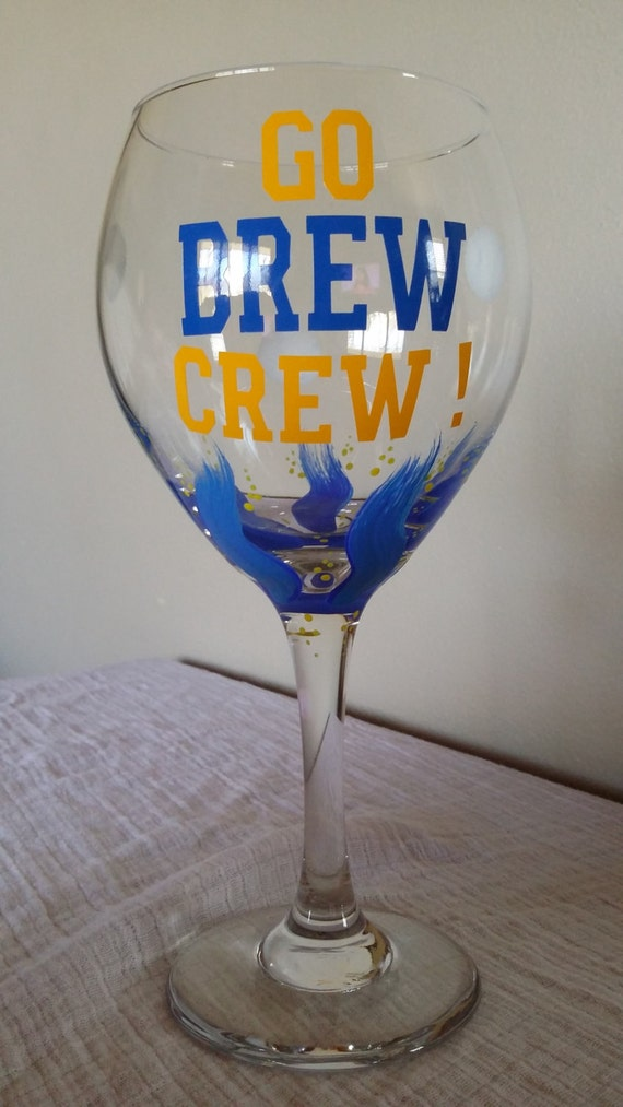 milwaukee brewers wine glass go brew crew by karenswineseller. Black Bedroom Furniture Sets. Home Design Ideas