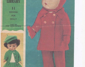 Womans Day Knitting Dolls Patterns, Striped Sweater, Dolls Jeans, Knitting Pattern for Dolls, Childrens Dolls Clothes, Dolls Dress, Beret
