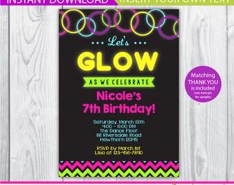 glow invitation / glow in the dark invitation / glow invite / glow in the dark invite / neon invitation / INSTANT DOWNLOAD