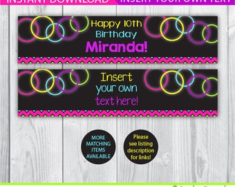 Glow water bottle labels / Glow bottle labels / Glow decoration / Glow in the dark decoration / Glow birthday printable / INSTANT