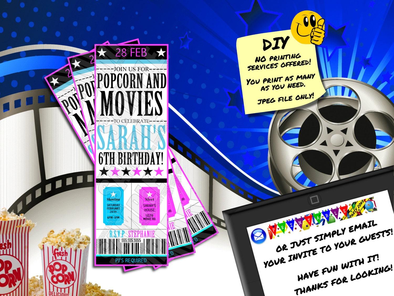 MOVIE TICKET BIRTHDAY Invitation Printable Invite. Emailable