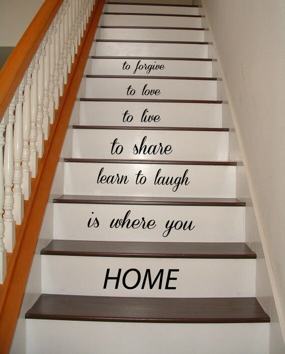 stickers muraux amour citation famille autocollant escalier. Black Bedroom Furniture Sets. Home Design Ideas