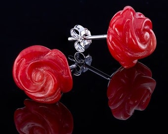 Rose, 12 mm solid 925 sterling silver rose stud earrings with real natural corals