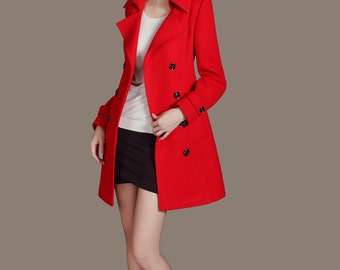 Double Breasted Long down coat Women Red Coat Casual Peacoat Button Down Dress Coat with Pockets Gift for Christmas CW92