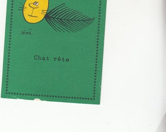 Signed Sine-Les Chat-Cat-Comic-Satire-Humor-Pulcinella-Paris Postcard