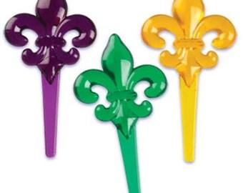 24 Fleur De Lis Cupcake Picks Party Supplies Cake Toppers Mardi Gras Decorations
