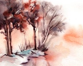 Winter Landscape Watercolor Painting Art Print, Nature Modern Watercolor Art