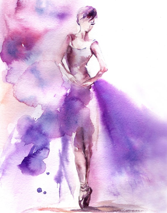 Watercolor Print Ballerina Watercolor Painting By