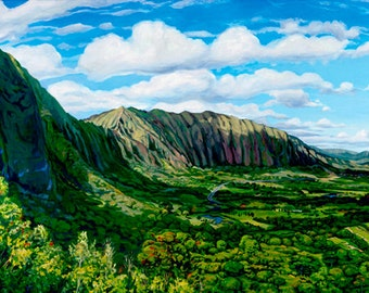 Pali Cliffs, Matted Giclée on Paper print Oahu Koolau Mountains vacation lookout view hawaii