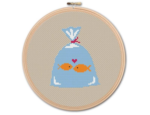 Fishes in Bag, Counted Cross stitch, Pattern PDF, Cross Stitch Chart , Cute Cross Stitch, Cross stitch pattern, pixel art, 0179